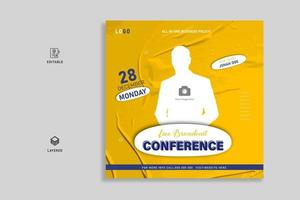 Business live webinar social media post banner template design vector