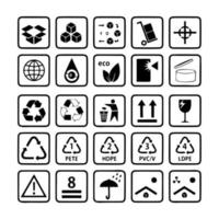Packaging icon symbol set 1 of 2 vector
