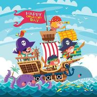 Happy Children's Day Concept with Kids Playing Pirates vector