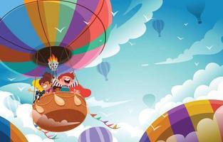 Fondo feliz del día del niño con aventura en globo aerostático. vector