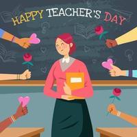 Happy Young Teacher Got Appreciation vector
