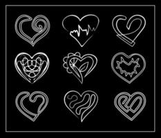 Calligraphic linear hearts collection. Set of drawn outline abstract vector