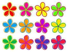 Colorful Retro Flower Set vector