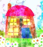 Watercolor House and Garden Painting vector