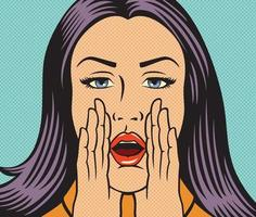 Pop Art Woman Shouting and Calling vector