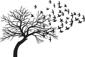 Scary Bare Black Tree Silhouette and Flock of Flying Birds vector