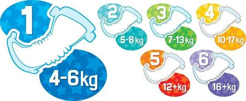 Baby Absorbent Diaper in Different Sizes Concept vector