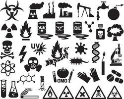 Hazard and Danger Icons Set vector