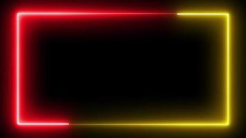 bucle de marco de neón sin costuras en rojo y amarillo video
