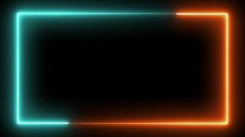 bucle de marco de neón sin costuras en verde y naranja video