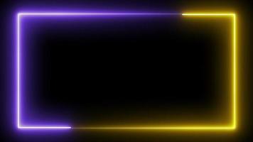 bucle de marco de neón sin costuras en amarillo y violeta video
