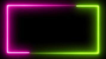 bucle de marco de neón sin costuras en verde y violeta video