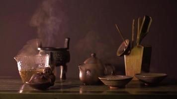Chinese theeceremonie in het donker video