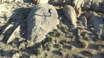 luchtfoto van een jonge backpacker die bij zijn hond staat video
