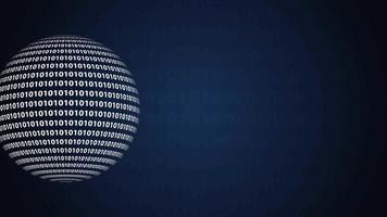 01 ou boule de nombres binaires ou sphère isolée sur fond noir video