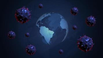 Earth surrounded by bacteria coronavirus Covid-19 video