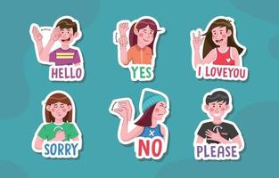 Sign Language Sticker Collection vector