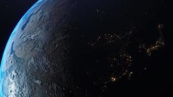 vista espacial de la tierra con formación de nubes. video