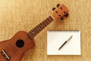 Top view with Ukulele on Sofa There are notebooks and pens for d photo