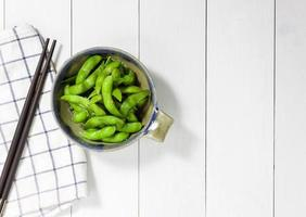 boiled green soy beans photo