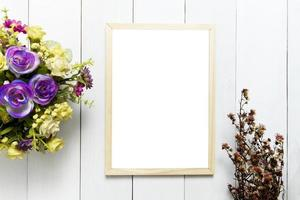 frame over white wood table background for mockup photo