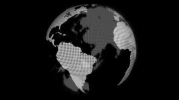 draaiende zwart-witte wereldbol op een donkere achtergrond video