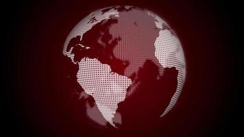 draaiende rode wereldbol op een donkere achtergrond video