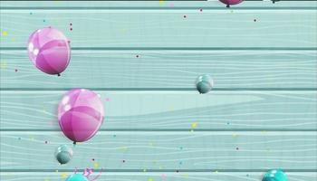 Colored naturalistic balloons and tinsel flying video