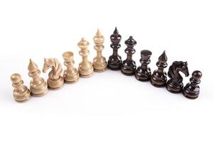 Chess game figures on white background photo