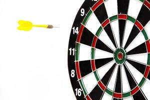 Dartboard with dart arrow hitting the center photo
