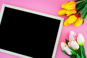 flor de tulipán y pizarra, pizarra con plano sentar sobre el rosa. foto