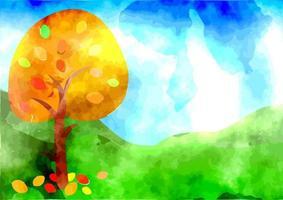 Watercolor Autumn Tree Landscape vector