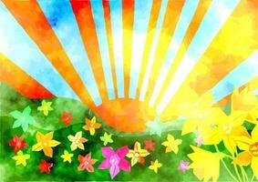Watercolor Spring Sunrise Landscape vector