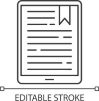 Handheld e-reader pixel perfect linear icon vector