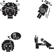 Early pregnancy symptom black glyph icons set on white space vector