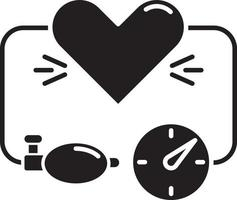 High blood pressure black glyph icon vector