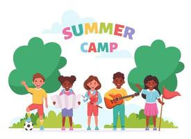 Summer kids camp. Children outdoor activity, camping and scouting vector