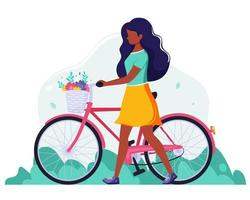 Black woman with a bike with flowers in the basket. Outdoor activity. vector