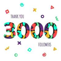 gracias postal de números de 3000 seguidores. vector