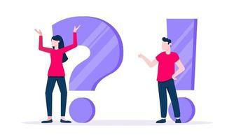 q y un concepto con un personaje de gente pequeña con un gran signo de interrogación vector