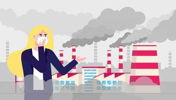 woman, smog and factory vector