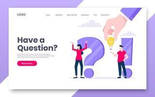 preguntas frecuentes o q y una plantilla web de concepto de página de destino de Internet. vector