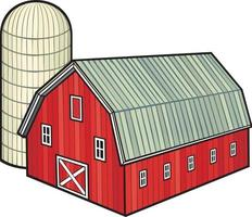 Red Barn and Silo vector