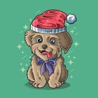 little dog wear santa hat illustration vector grunge