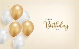 happy birthday background with realistic balloon and golden confetti. vector