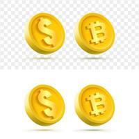 Conjunto aislado de moneda de oro 3D vector
