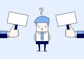 hombre de negocios confundido acerca de dos opciones. vector