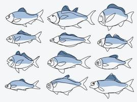 Doodle freehand sketch continuous drawing of fish collection. vector
