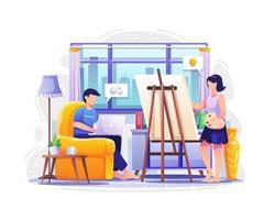 personas que trabajan en una computadora portátil y una pintura. ilustración vectorial vector