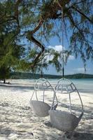 Saracen Bay beach in tropical paradise Koh Rong Samloen island near Siahnaoukville in Cambodia photo
